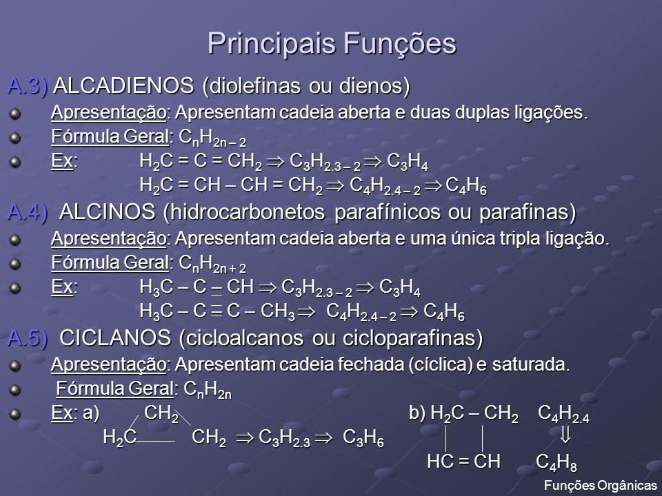 Principais Funções A.3) ALCADIENOS (diolefinas ou dienos)