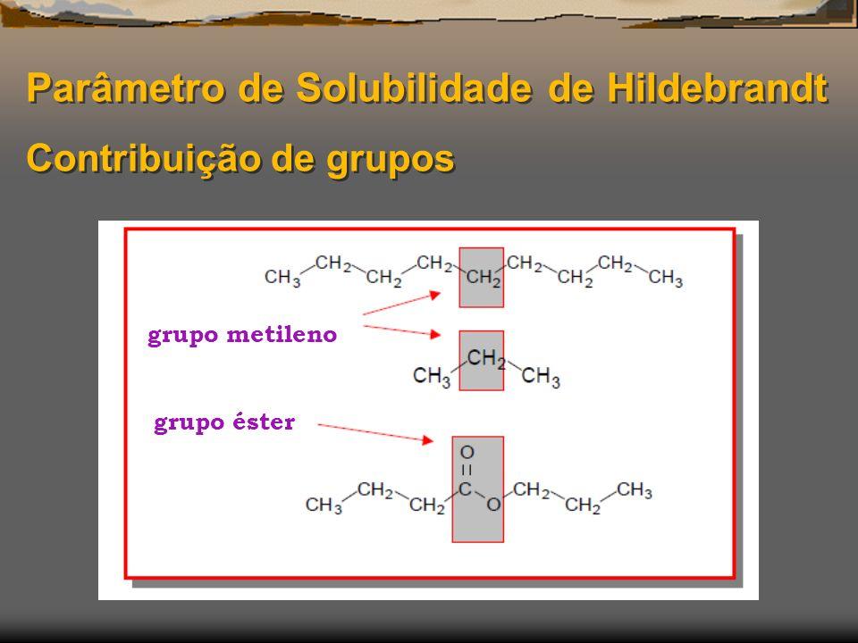 Parâmetro de Solubilidade de Hildebrandt Contribuição de grupos