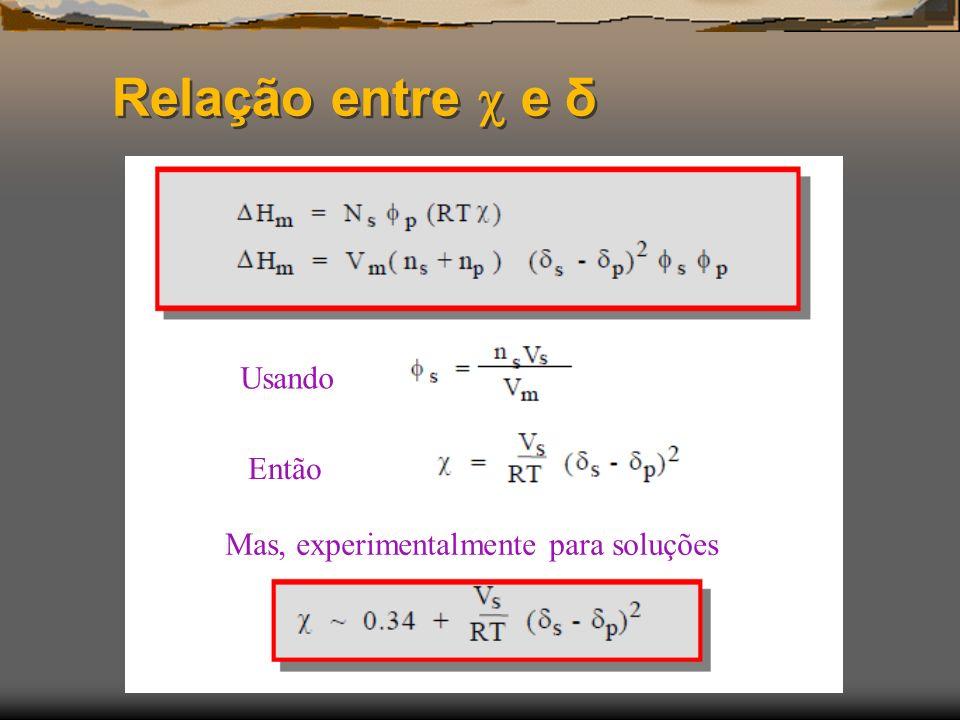 Relação entre  e δ Usando Então Mas, experimentalmente para soluções