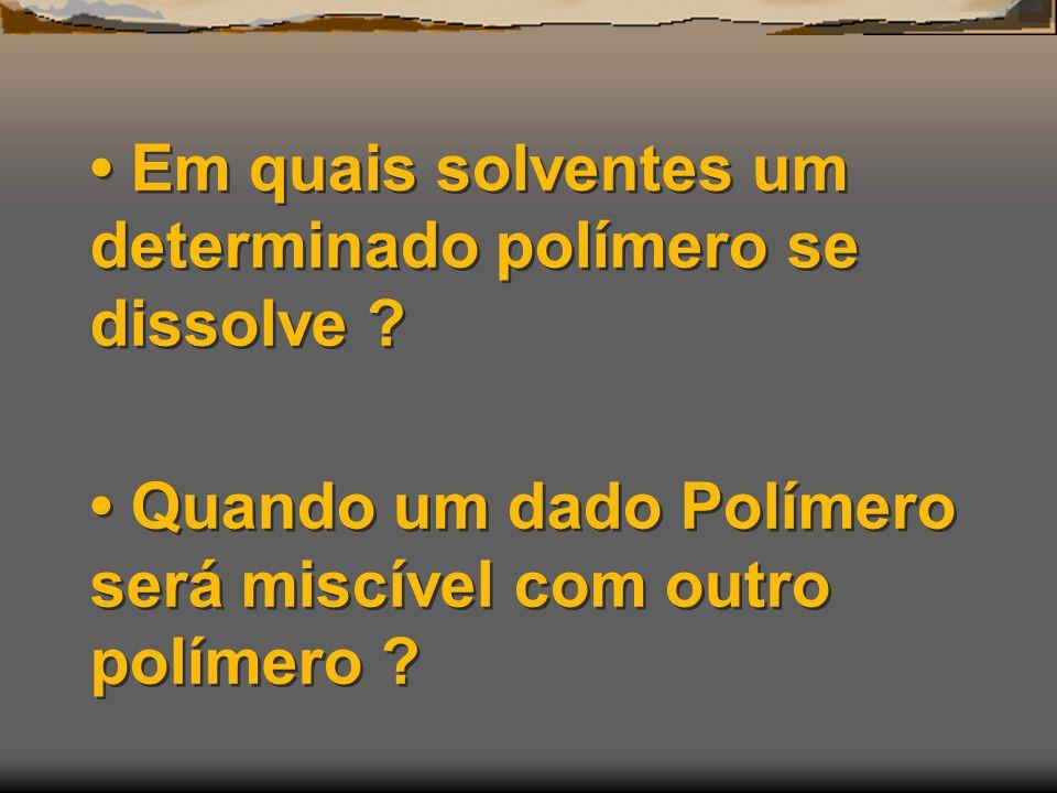 • Em quais solventes um determinado polímero se dissolve