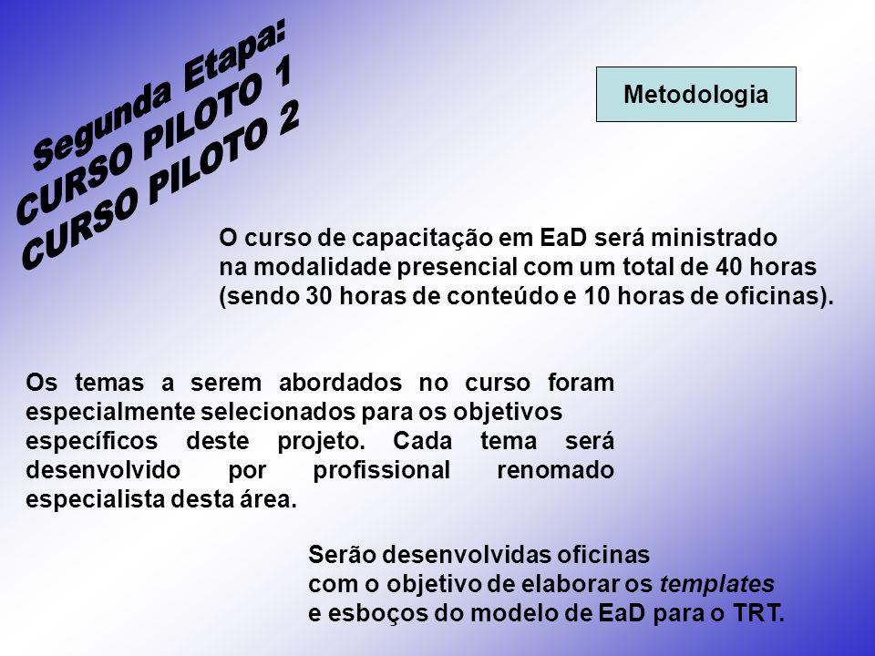 Segunda Etapa: CURSO PILOTO 1 CURSO PILOTO 2 Metodologia
