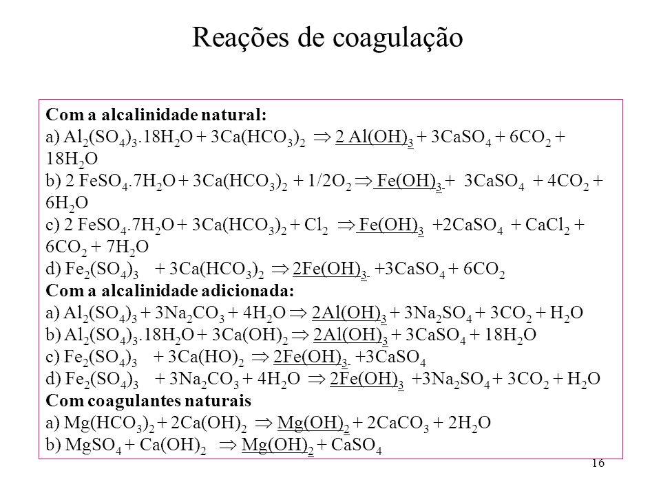 Reações de coagulação Com a alcalinidade natural:
