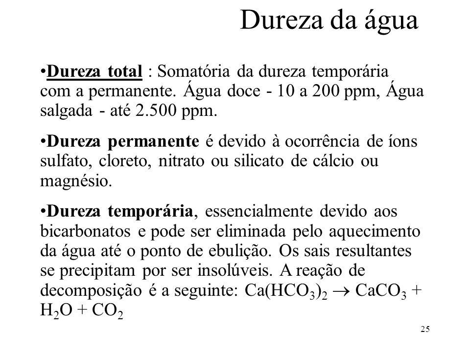Dureza da água Dureza total : Somatória da dureza temporária com a permanente. Água doce - 10 a 200 ppm, Água salgada - até 2.500 ppm.