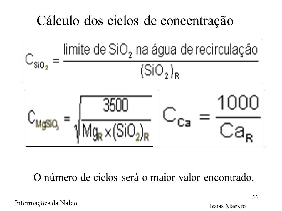 Cálculo dos ciclos de concentração