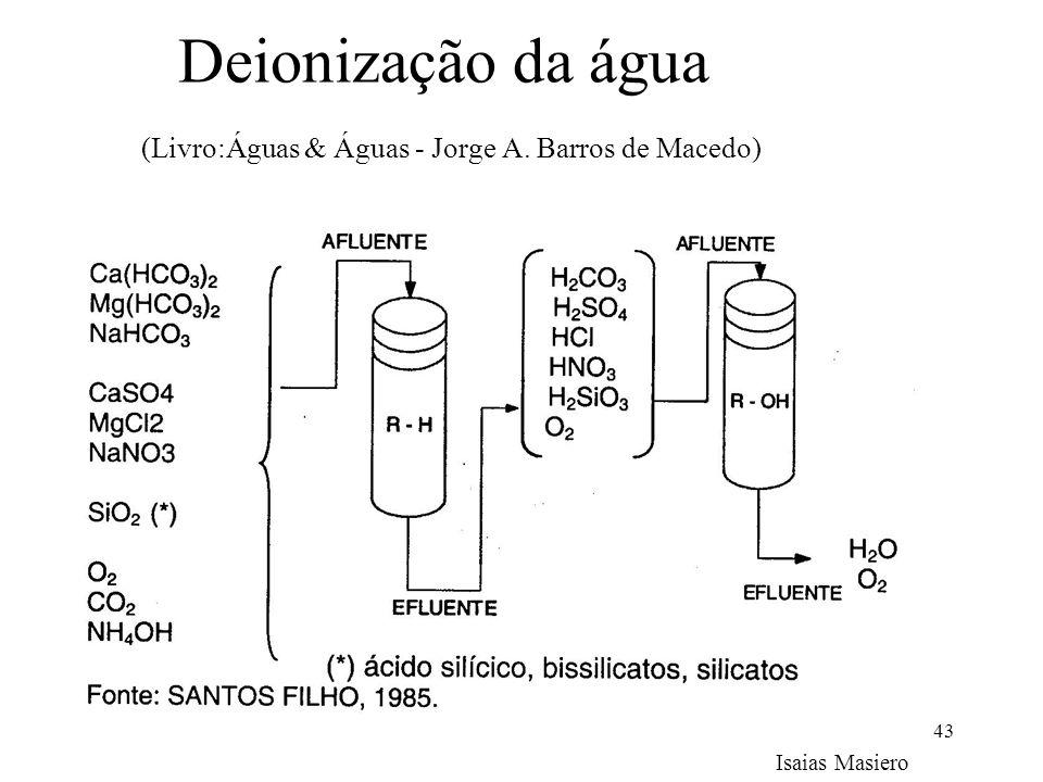 Deionização da água (Livro:Águas & Águas - Jorge A. Barros de Macedo)