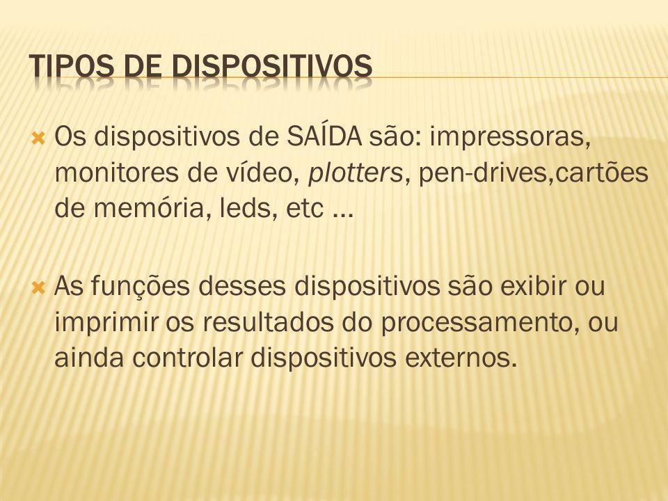 Tipos de dispositivos Os dispositivos de SAÍDA são: impressoras, monitores de vídeo, plotters, pen-drives,cartões de memória, leds, etc ...