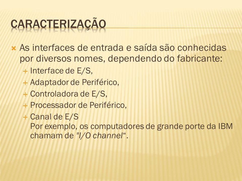 caracterizaçãoAs interfaces de entrada e saída são conhecidas por diversos nomes, dependendo do fabricante: