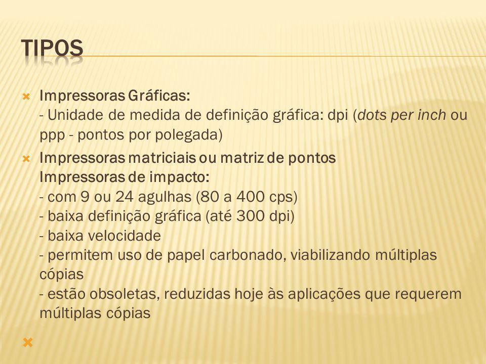 tipos Impressoras Gráficas: - Unidade de medida de definição gráfica: dpi (dots per inch ou ppp - pontos por polegada)
