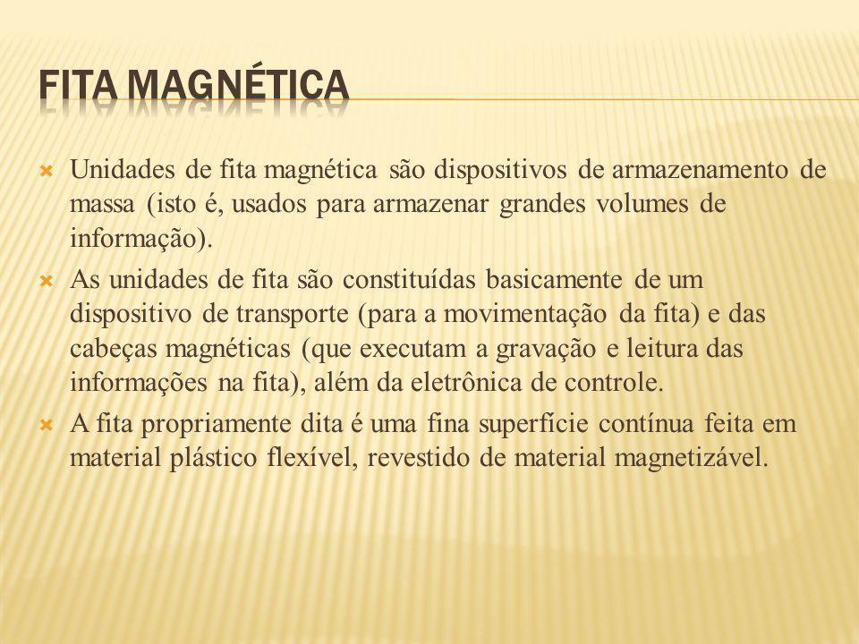 FITA MAGNÉTICA Unidades de fita magnética são dispositivos de armazenamento de massa (isto é, usados para armazenar grandes volumes de informação).