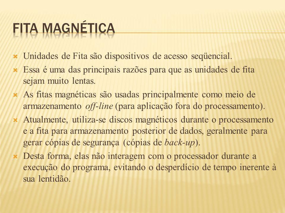 Fita magnética Unidades de Fita são dispositivos de acesso seqüencial.