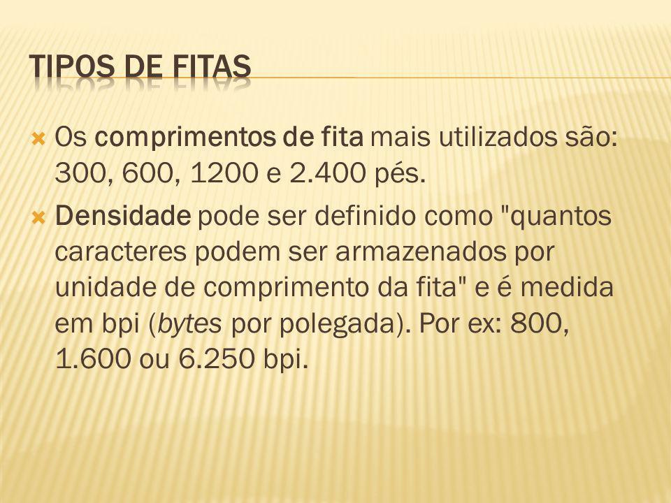 Tipos de fitasOs comprimentos de fita mais utilizados são: 300, 600, 1200 e 2.400 pés.