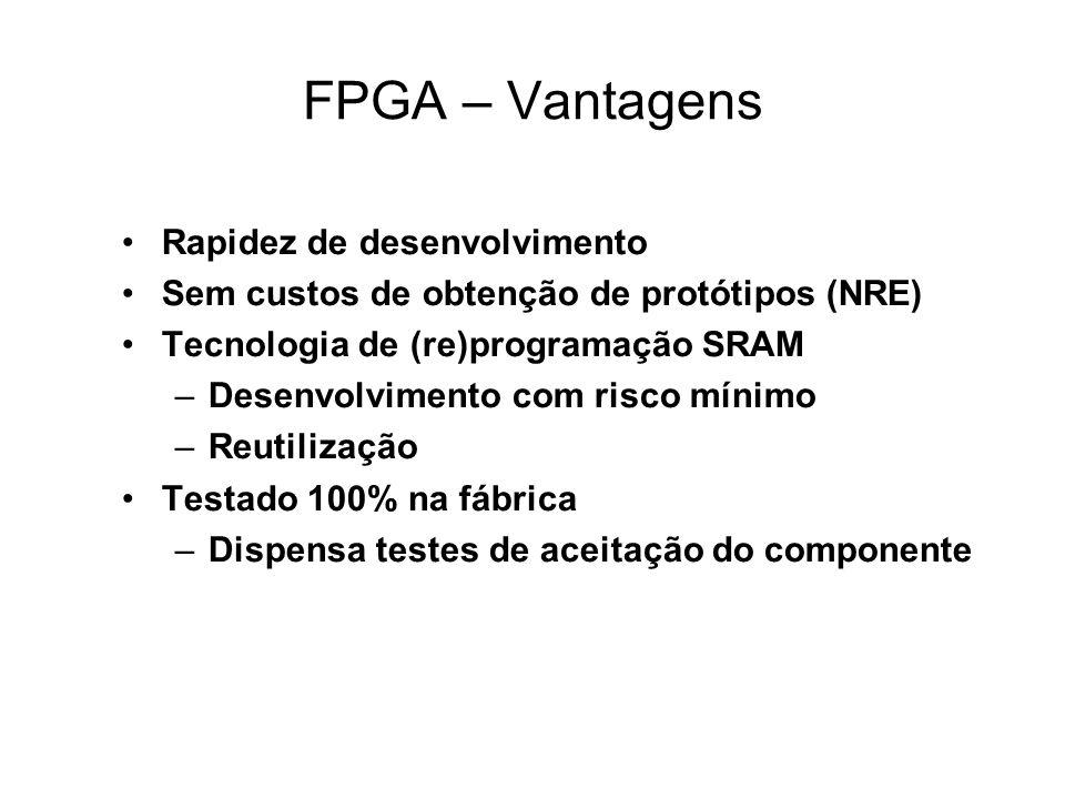 FPGA – Vantagens Rapidez de desenvolvimento