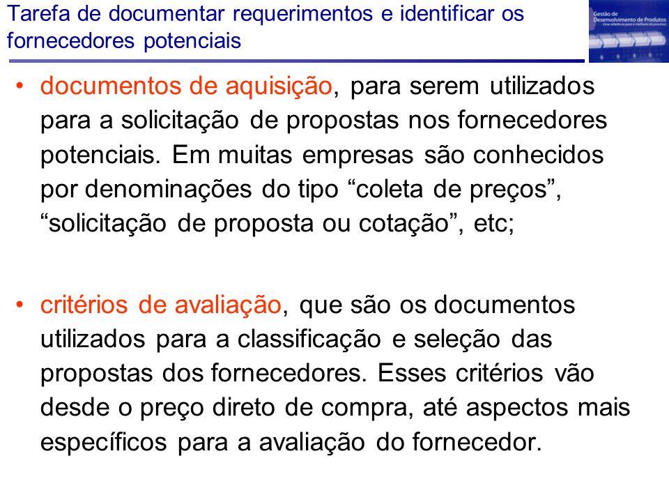 Tarefa de documentar requerimentos e identificar os fornecedores potenciais