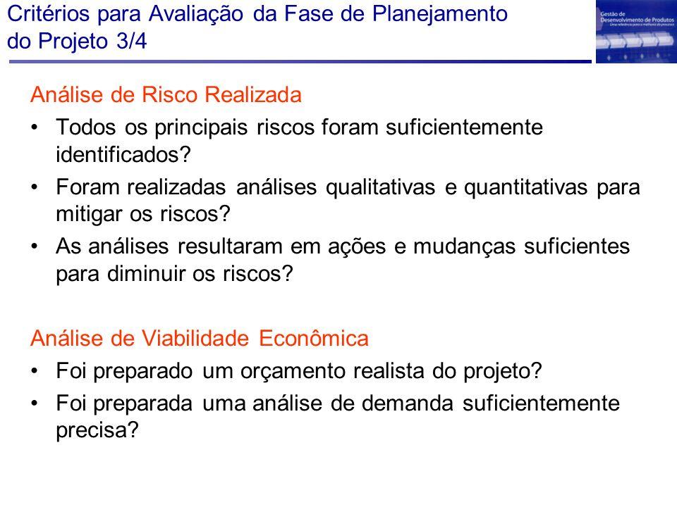 Critérios para Avaliação da Fase de Planejamento do Projeto 3/4