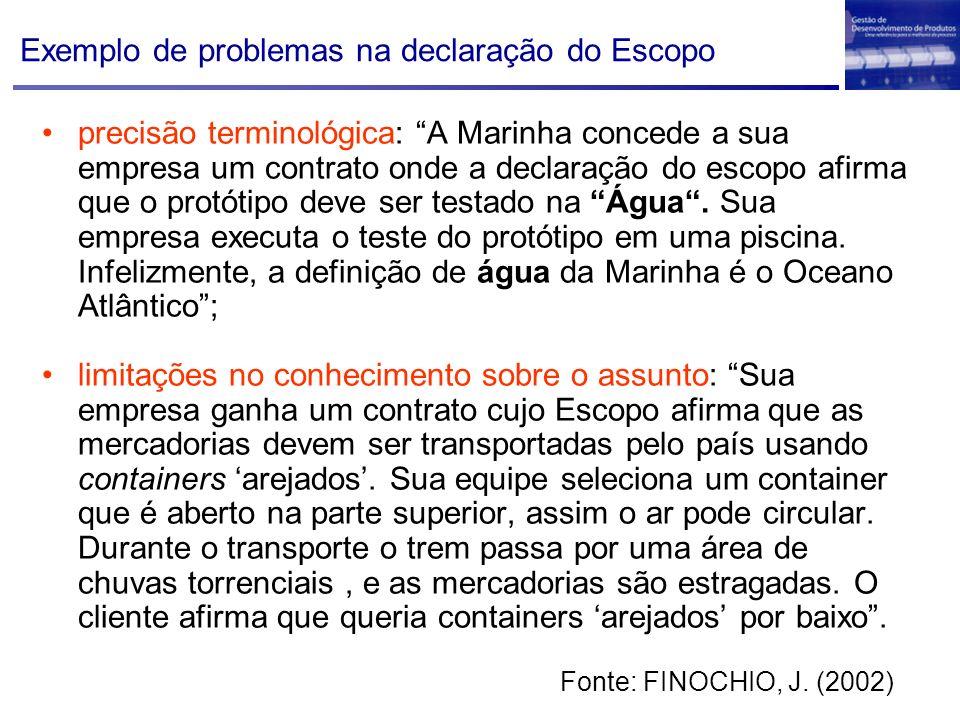 Exemplo de problemas na declaração do Escopo