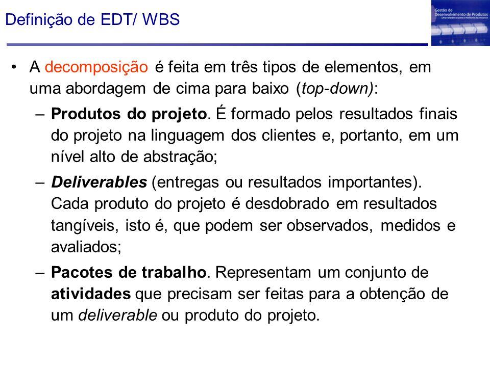 Definição de EDT/ WBSA decomposição é feita em três tipos de elementos, em uma abordagem de cima para baixo (top-down):