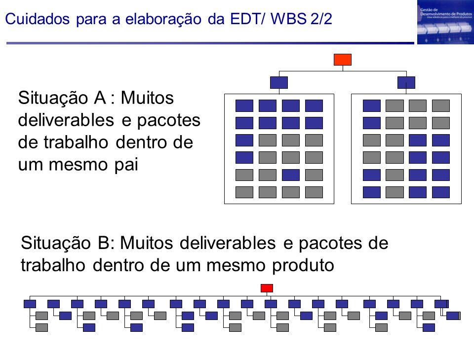 Cuidados para a elaboração da EDT/ WBS 2/2