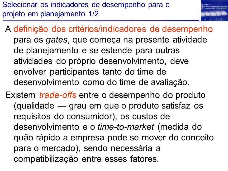 Selecionar os indicadores de desempenho para o projeto em planejamento 1/2