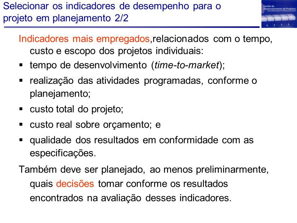 Selecionar os indicadores de desempenho para o projeto em planejamento 2/2
