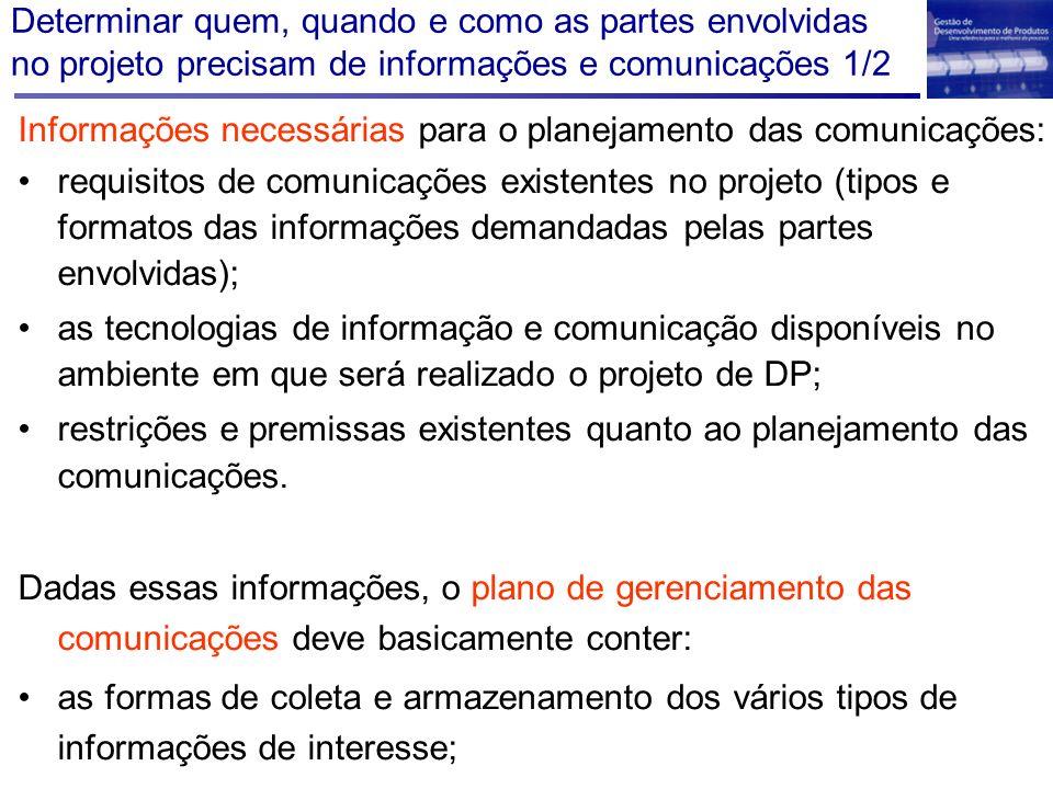 Determinar quem, quando e como as partes envolvidas no projeto precisam de informações e comunicações 1/2