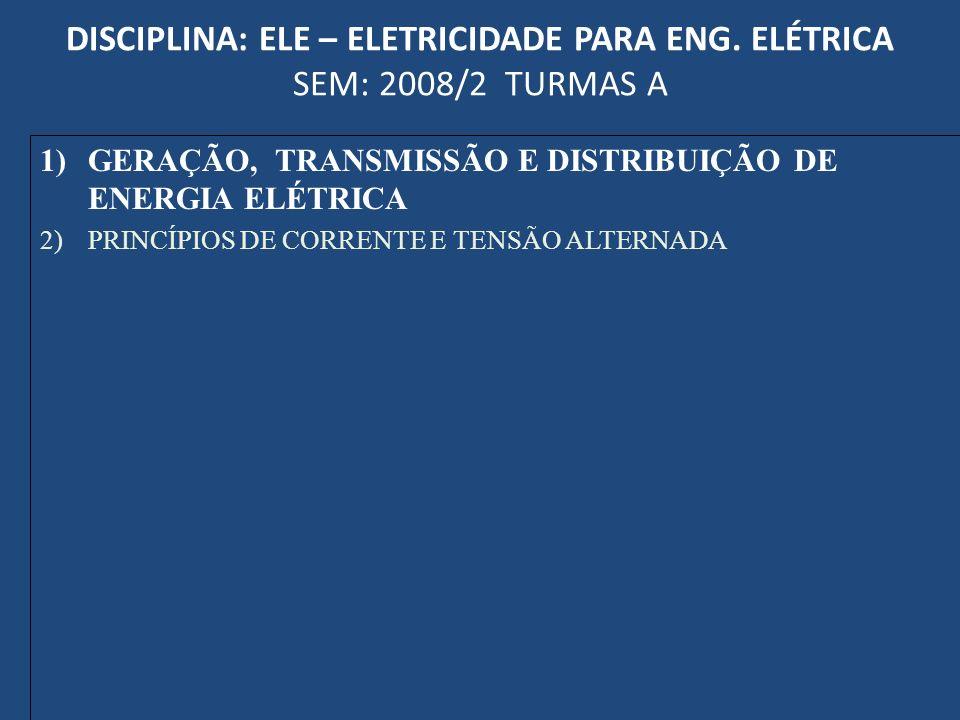 DISCIPLINA: ELE – ELETRICIDADE PARA ENG. ELÉTRICA SEM: 2008/2 TURMAS A