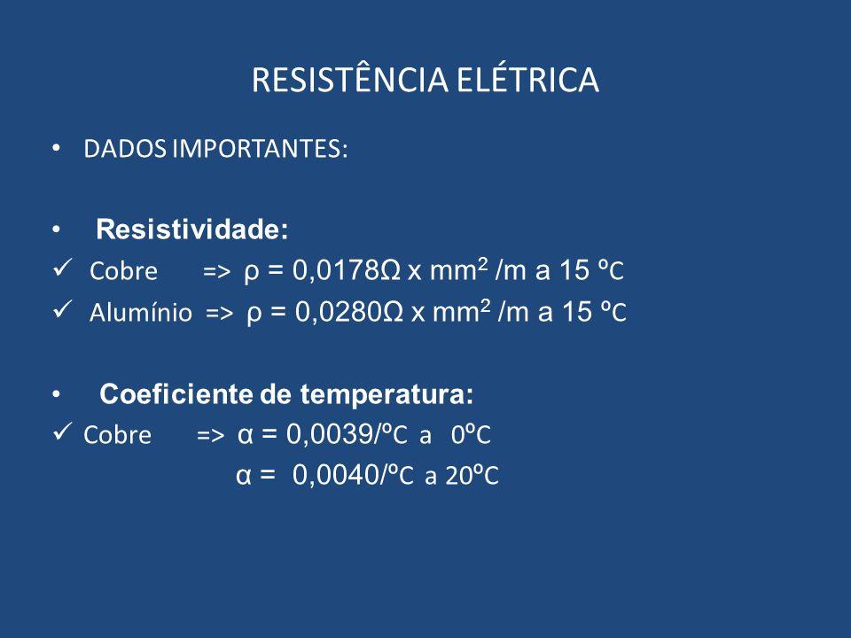 RESISTÊNCIA ELÉTRICA DADOS IMPORTANTES: Resistividade: