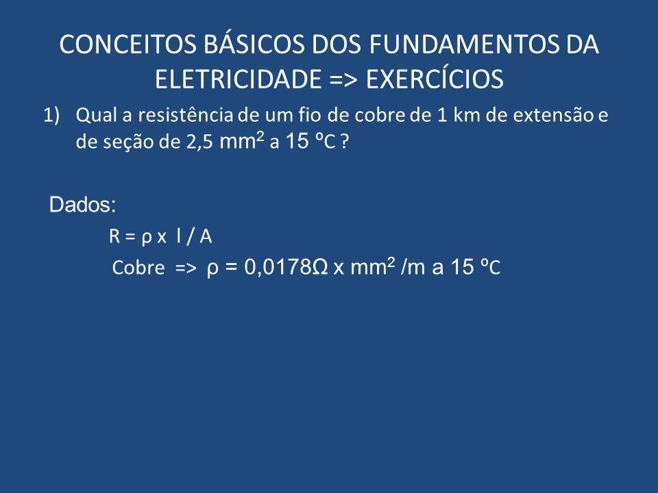 CONCEITOS BÁSICOS DOS FUNDAMENTOS DA ELETRICIDADE => EXERCÍCIOS