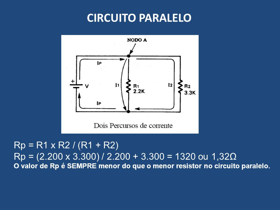 CIRCUITO PARALELO Rp = R1 x R2 / (R1 + R2)