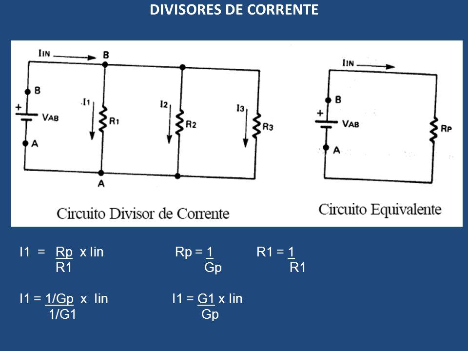DIVISORES DE CORRENTE I1 = Rp x Iin Rp = 1 R1 = 1 R1 Gp R1