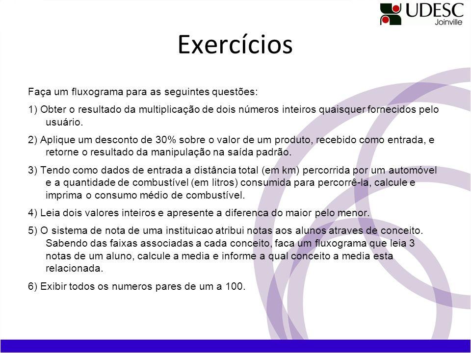 Exercícios Faça um fluxograma para as seguintes questões: