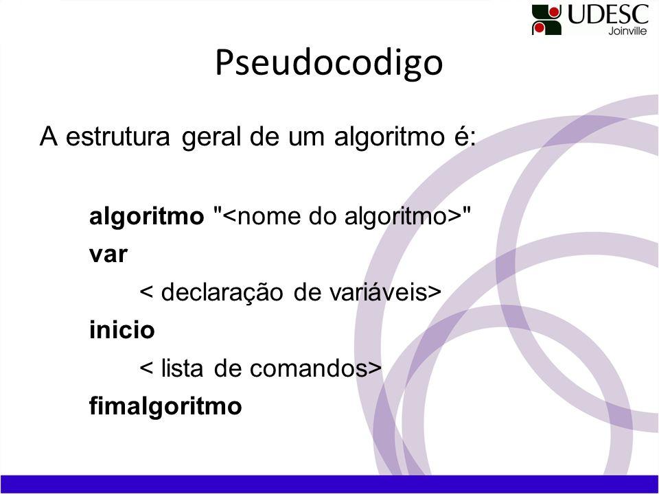 Pseudocodigo A estrutura geral de um algoritmo é: