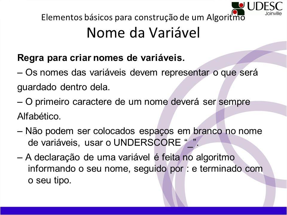 Elementos básicos para construção de um Algoritmo Nome da Variável