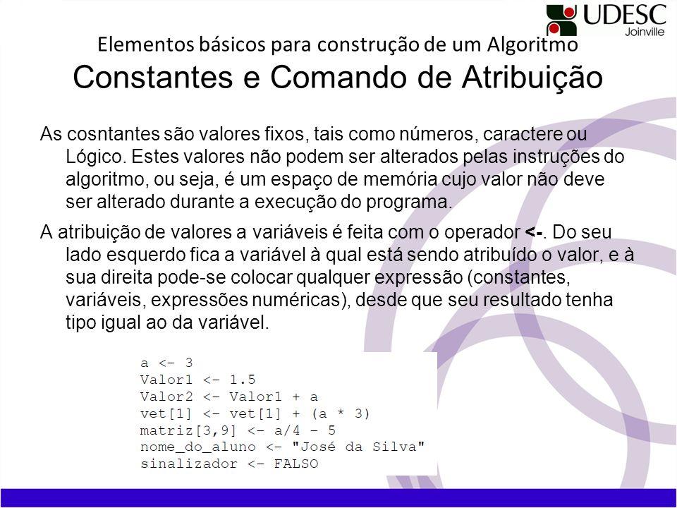 Elementos básicos para construção de um Algoritmo Constantes e Comando de Atribuição