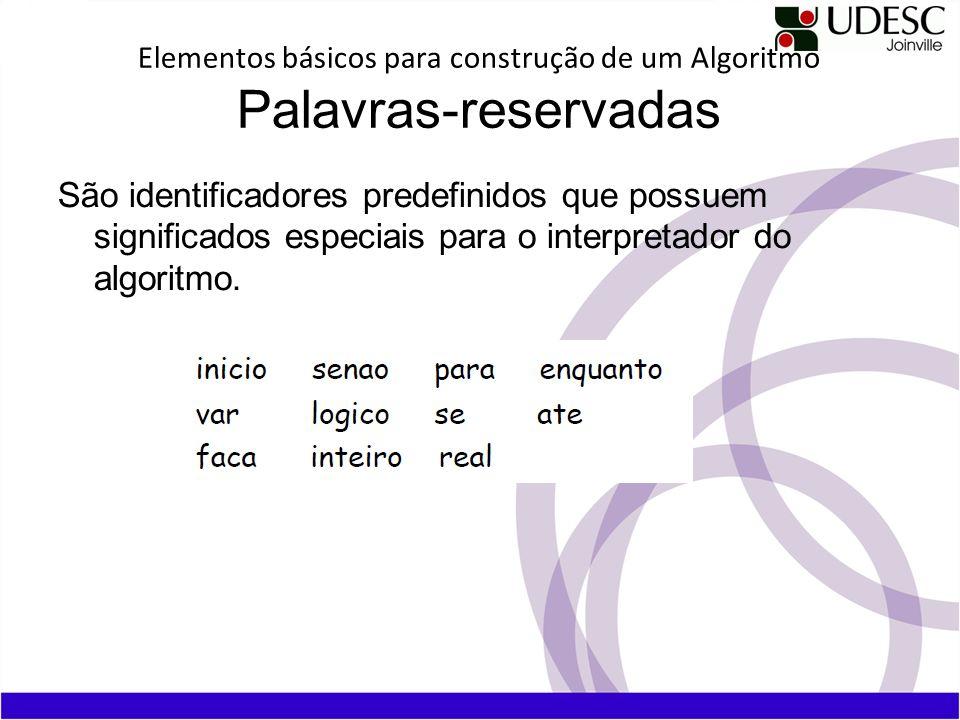 Elementos básicos para construção de um Algoritmo Palavras-reservadas