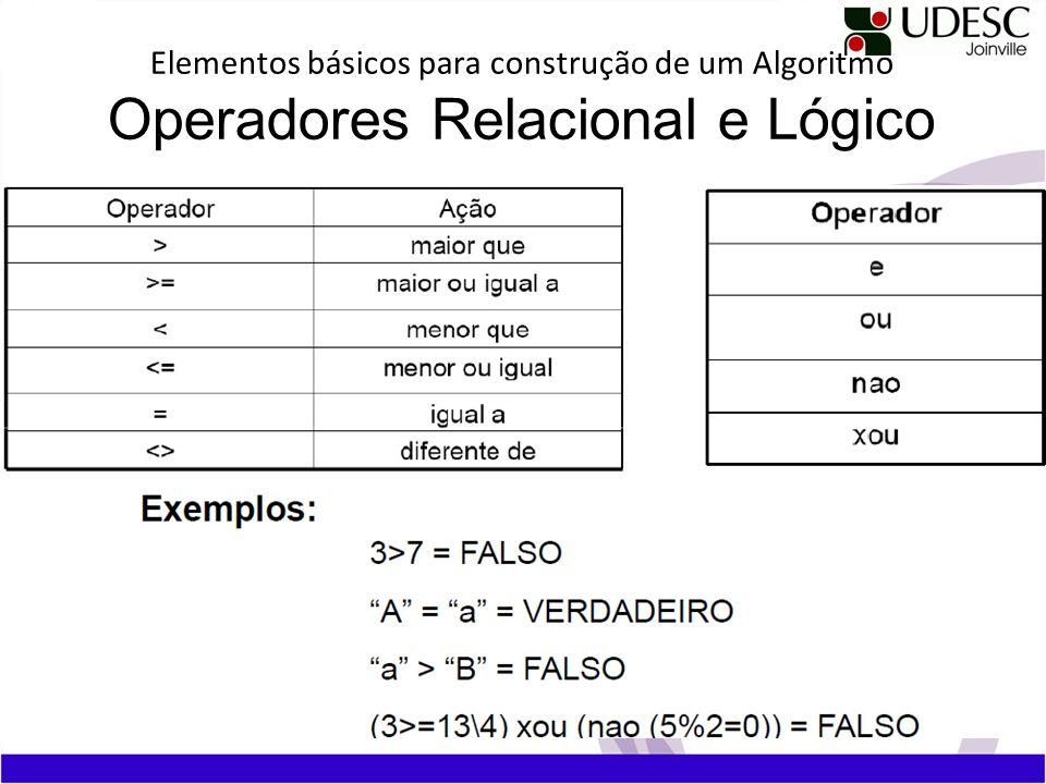 Elementos básicos para construção de um Algoritmo Operadores Relacional e Lógico