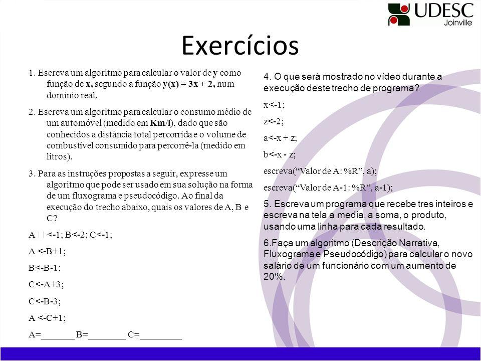Exercícios 1. Escreva um algoritmo para calcular o valor de y como função de x, segundo a função y(x) = 3x + 2, num domínio real.