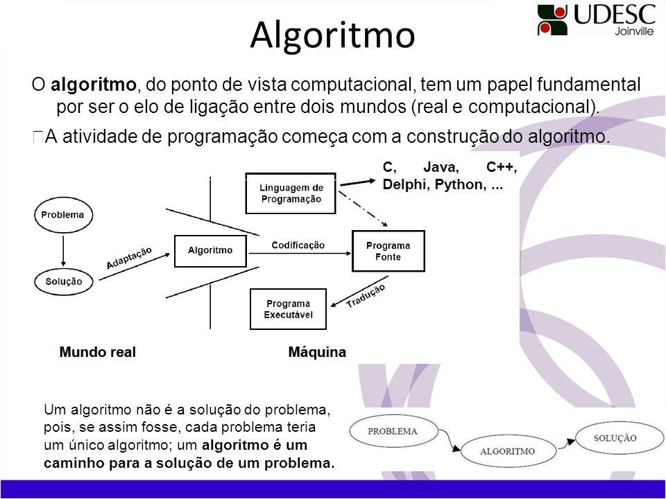 Algoritmo O algoritmo, do ponto de vista computacional, tem um papel fundamental por ser o elo de ligação entre dois mundos (real e computacional).
