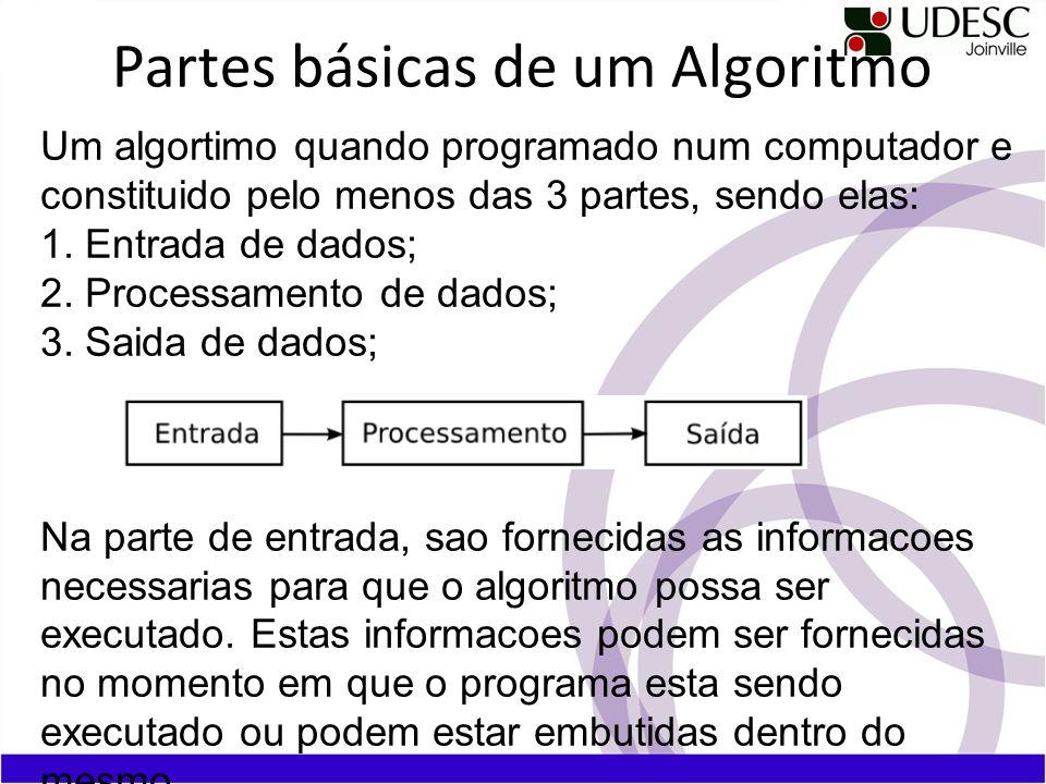Partes básicas de um Algoritmo