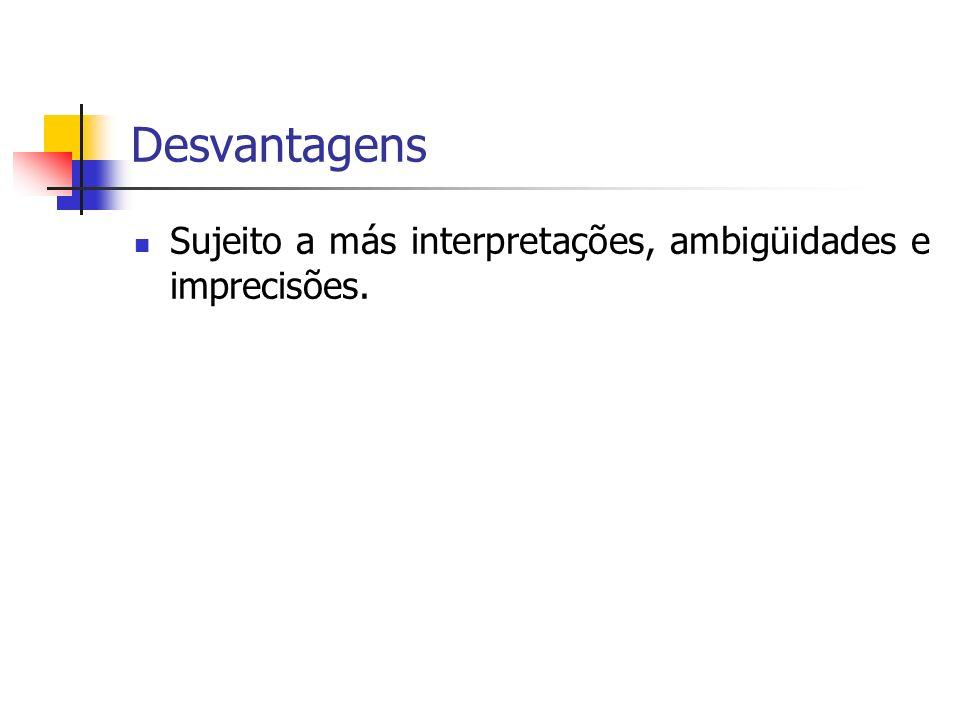 Desvantagens Sujeito a más interpretações, ambigüidades e imprecisões.