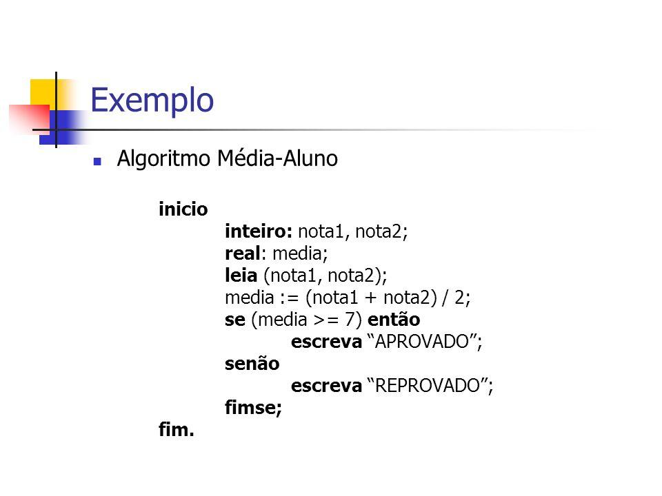 Exemplo Algoritmo Média-Aluno inicio inteiro: nota1, nota2;