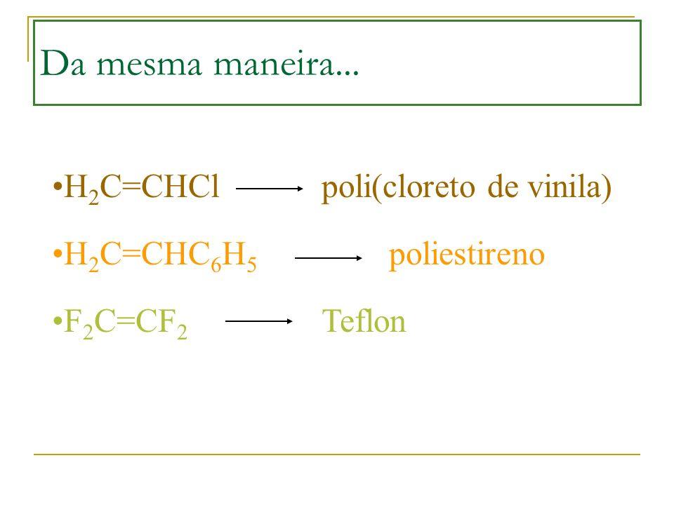 Da mesma maneira... H2C=CHCl poli(cloreto de vinila)