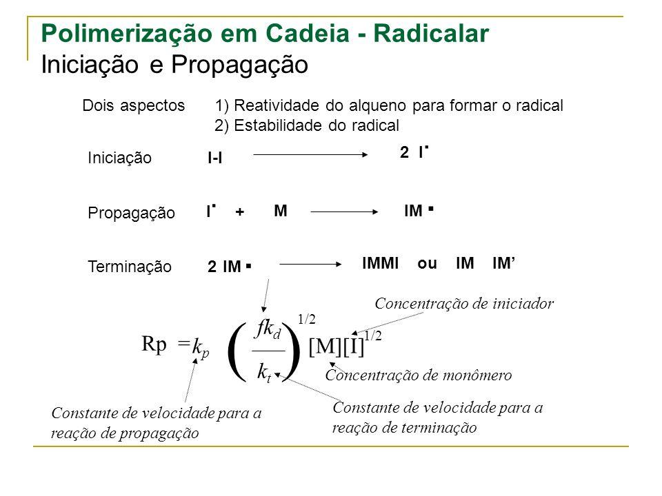 ( ) . . Polimerização em Cadeia - Radicalar Iniciação e Propagação fkd