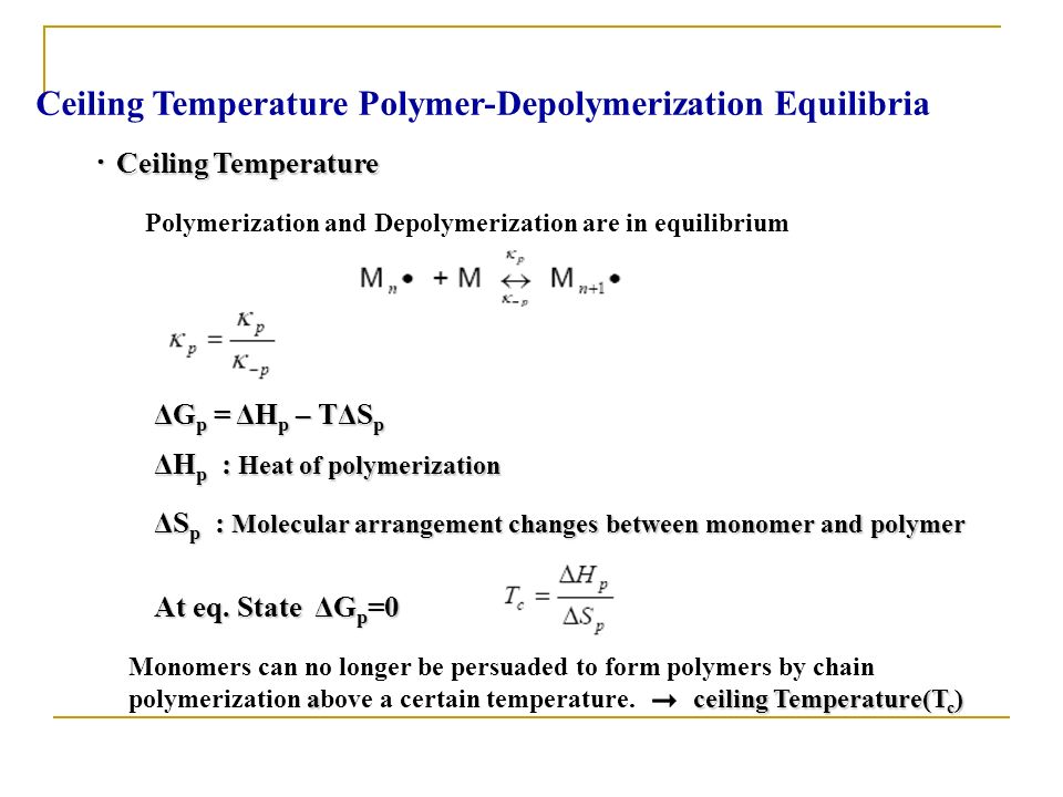 Ceiling Temperature Polymer-Depolymerization Equilibria