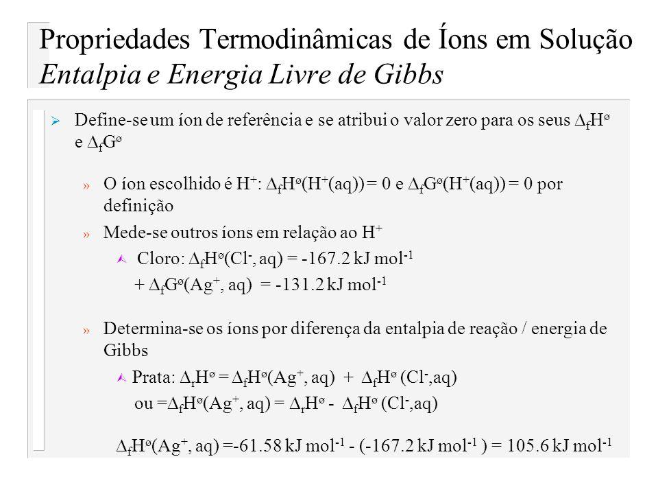 Propriedades Termodinâmicas de Íons em Solução Entalpia e Energia Livre de Gibbs