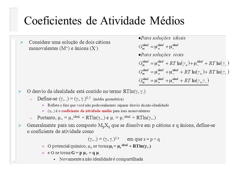 Coeficientes de Atividade Médios