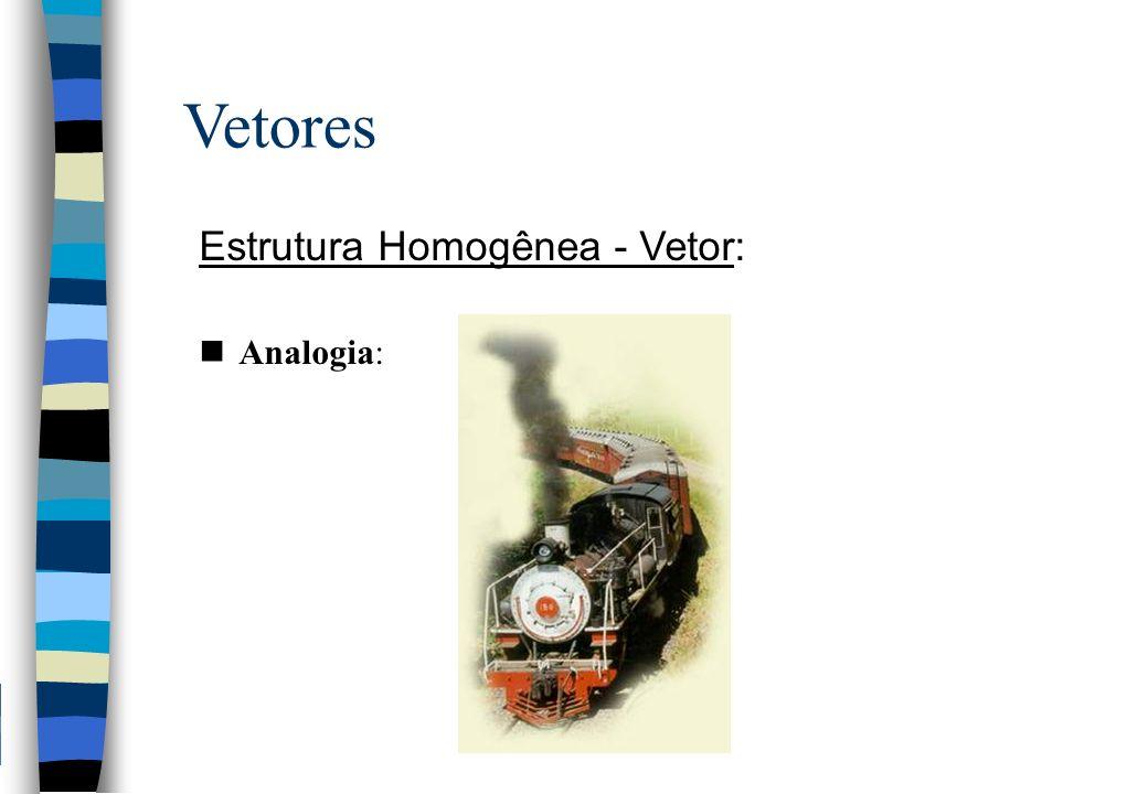 Vetores Estrutura Homogênea - Vetor: Analogia: