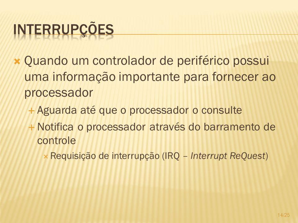 Interrupções Quando um controlador de periférico possui uma informação importante para fornecer ao processador.