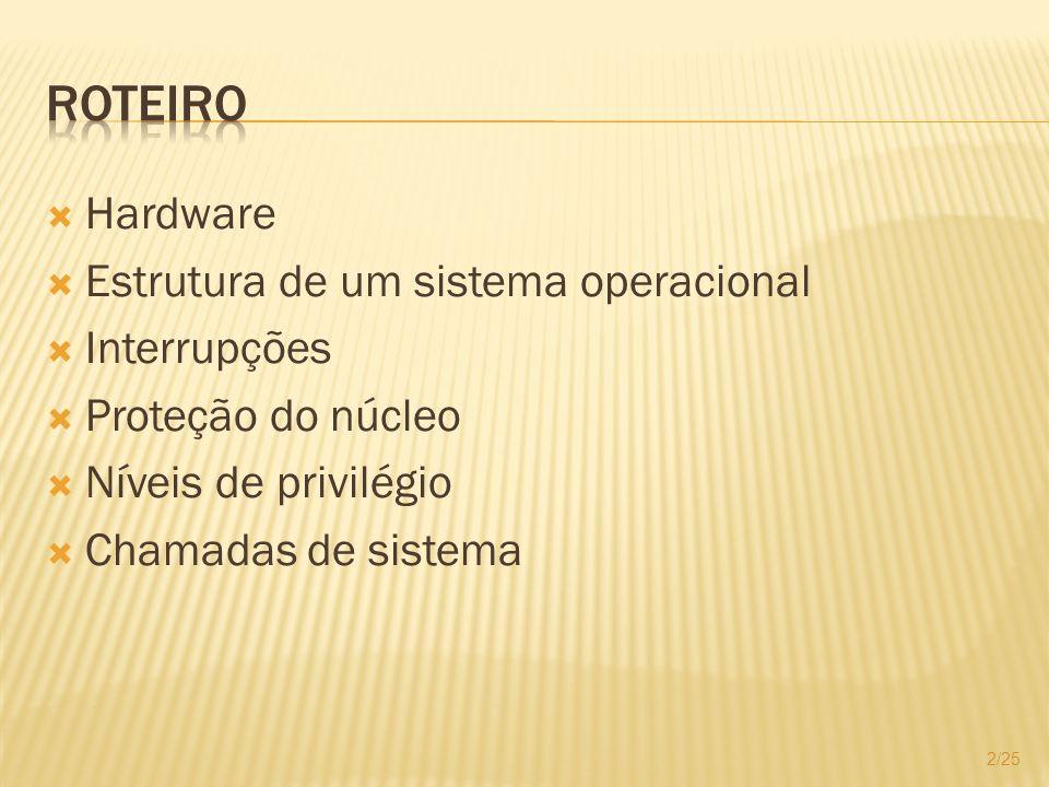 Roteiro Hardware Estrutura de um sistema operacional Interrupções