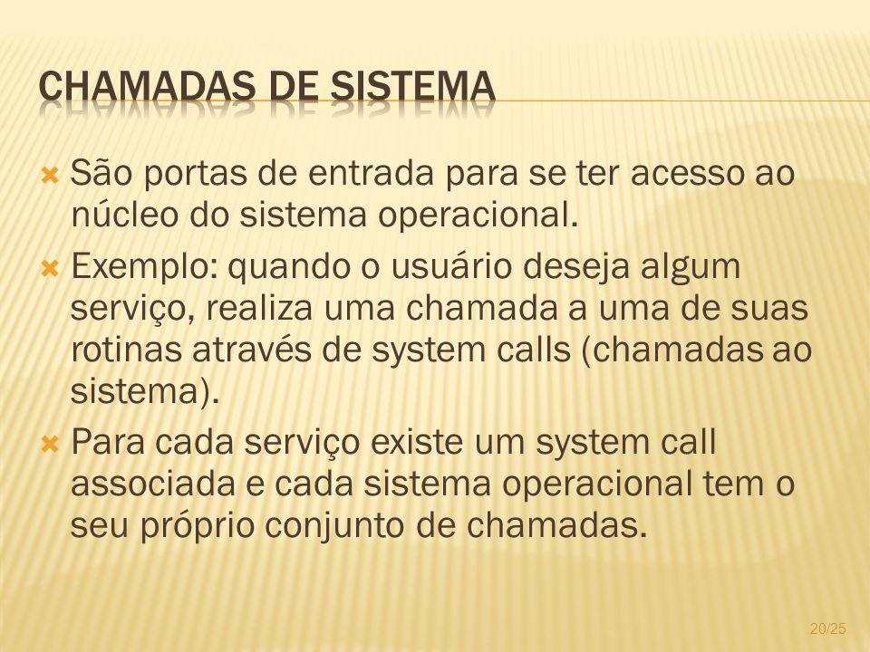 Chamadas de SistemaSão portas de entrada para se ter acesso ao núcleo do sistema operacional.