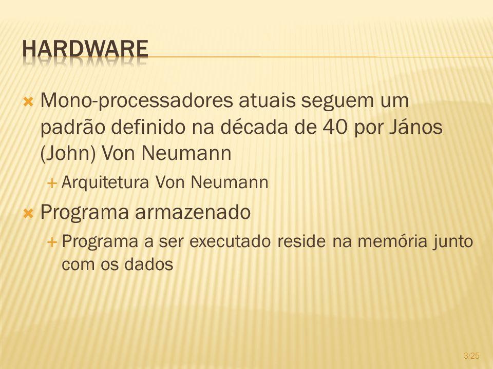 Hardware Mono-processadores atuais seguem um padrão definido na década de 40 por János (John) Von Neumann.